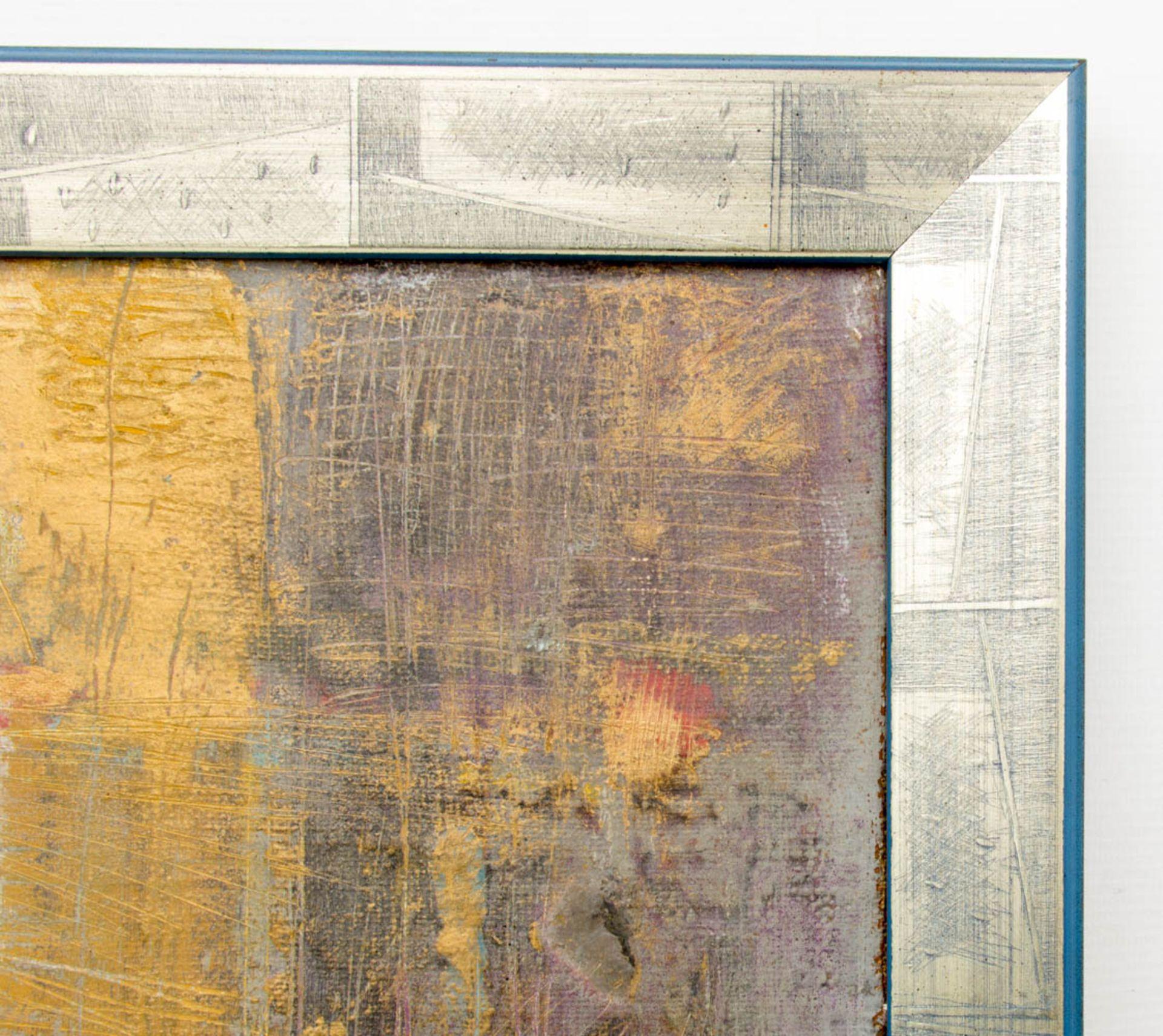 Abstrakte Komposition, Enkaustik auf Leinwand.Signiert unten rechts, gerahmt.Rück - Bild 3 aus 4