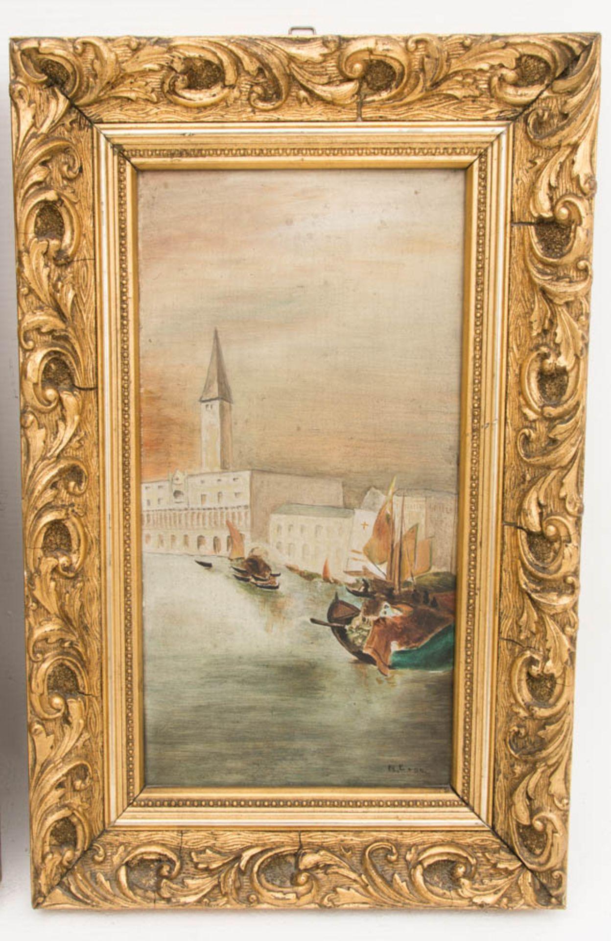 Monogrammiert R.E. 04, Öl auf Holz, Zwei Gemälde mit Ansichten von Venedig.Ansicht a - Bild 3 aus 6