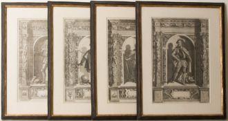 Vier Herrenportraits, Druckgrafik, 18. Jh.Teilweise rückseitig verglast und bedruckt.