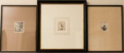 Adriaen van Ostade, Drei Männerportraits, Radierung, 1644 / 45.Adriaen van Ostade (16