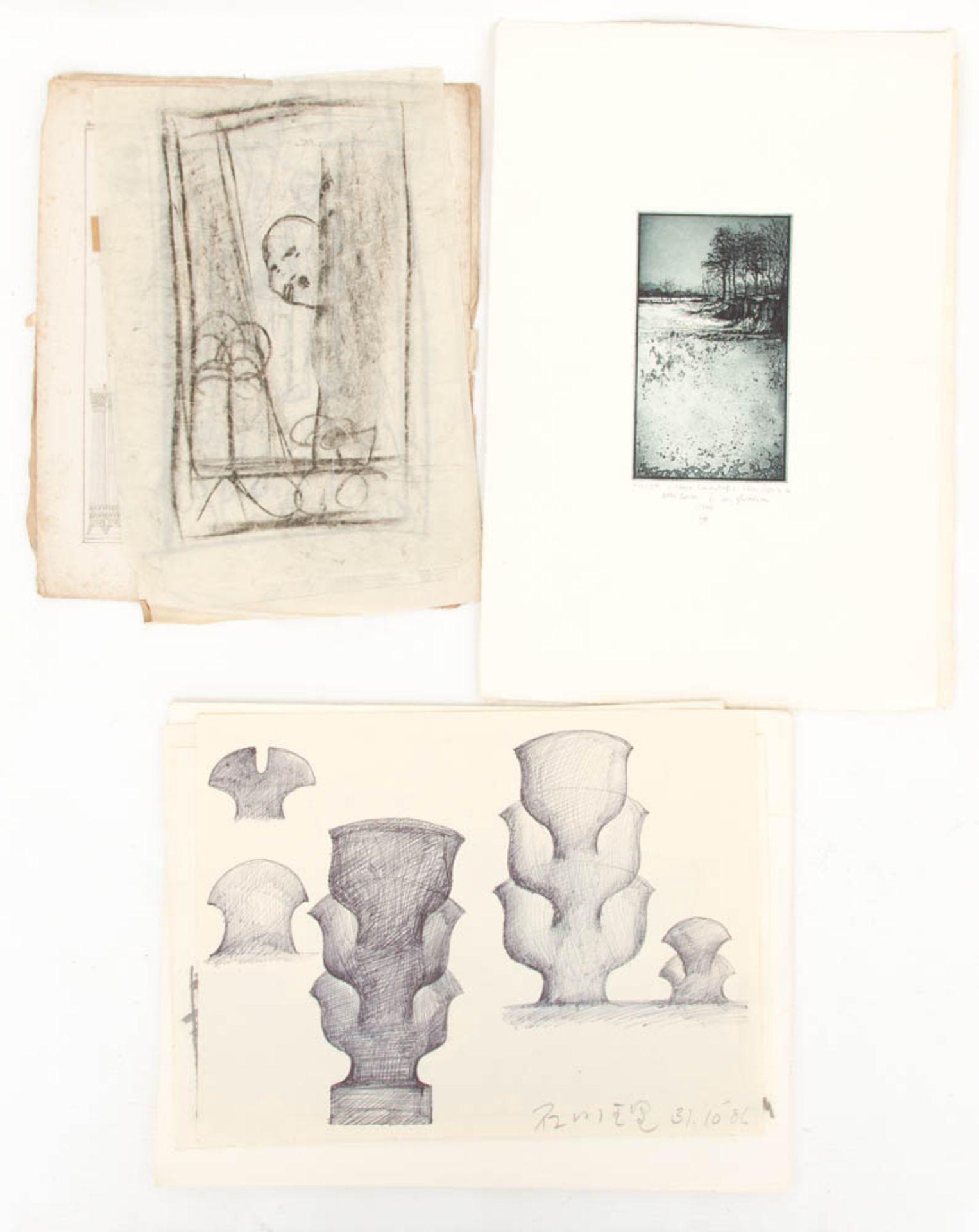 Konvolut von Zeichnungen und Mischtechniken verschiedener Künstler der Kunstakademie Stuttgart. - Bild 2 aus 3