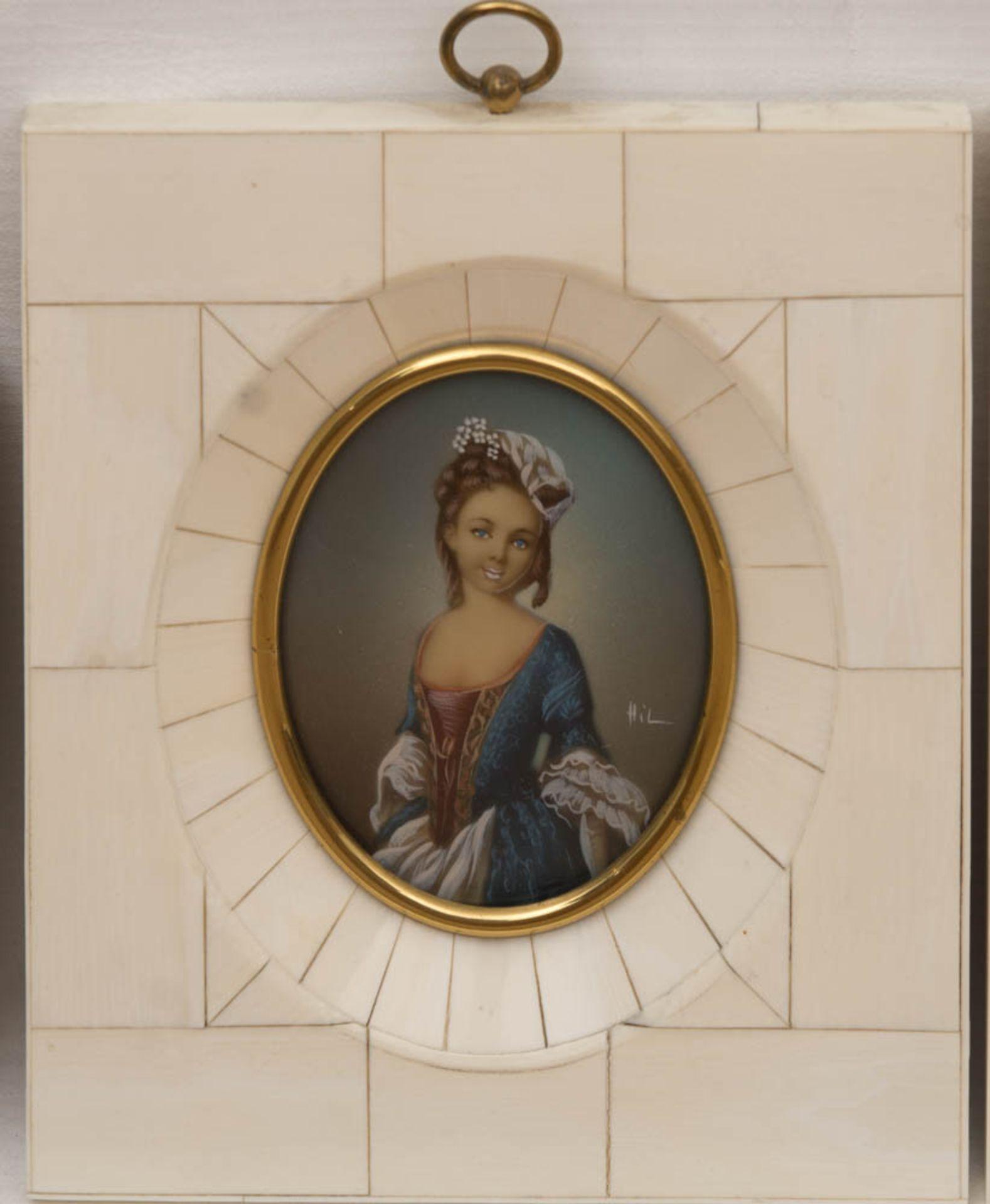 Konvolut von vier Miniaturmalereien im Elfenbeinrahmen.Sehr schön gearbeitete ovale D - Bild 3 aus 5