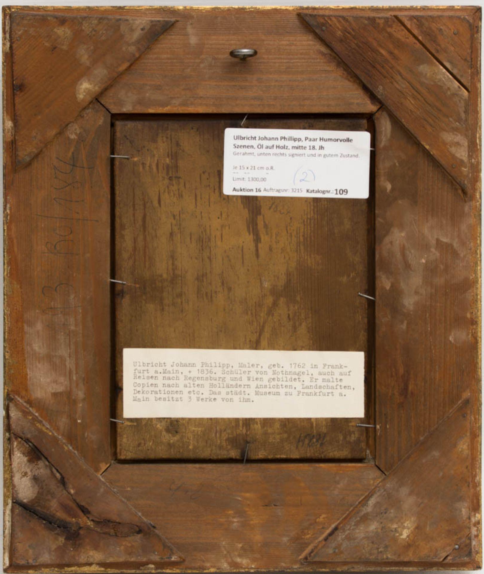 Johann Phillipp Ulbricht, Paar humorvolle Szenen, Öl auf Holz, Mitte 18. Jh. - Bild 3 aus 12