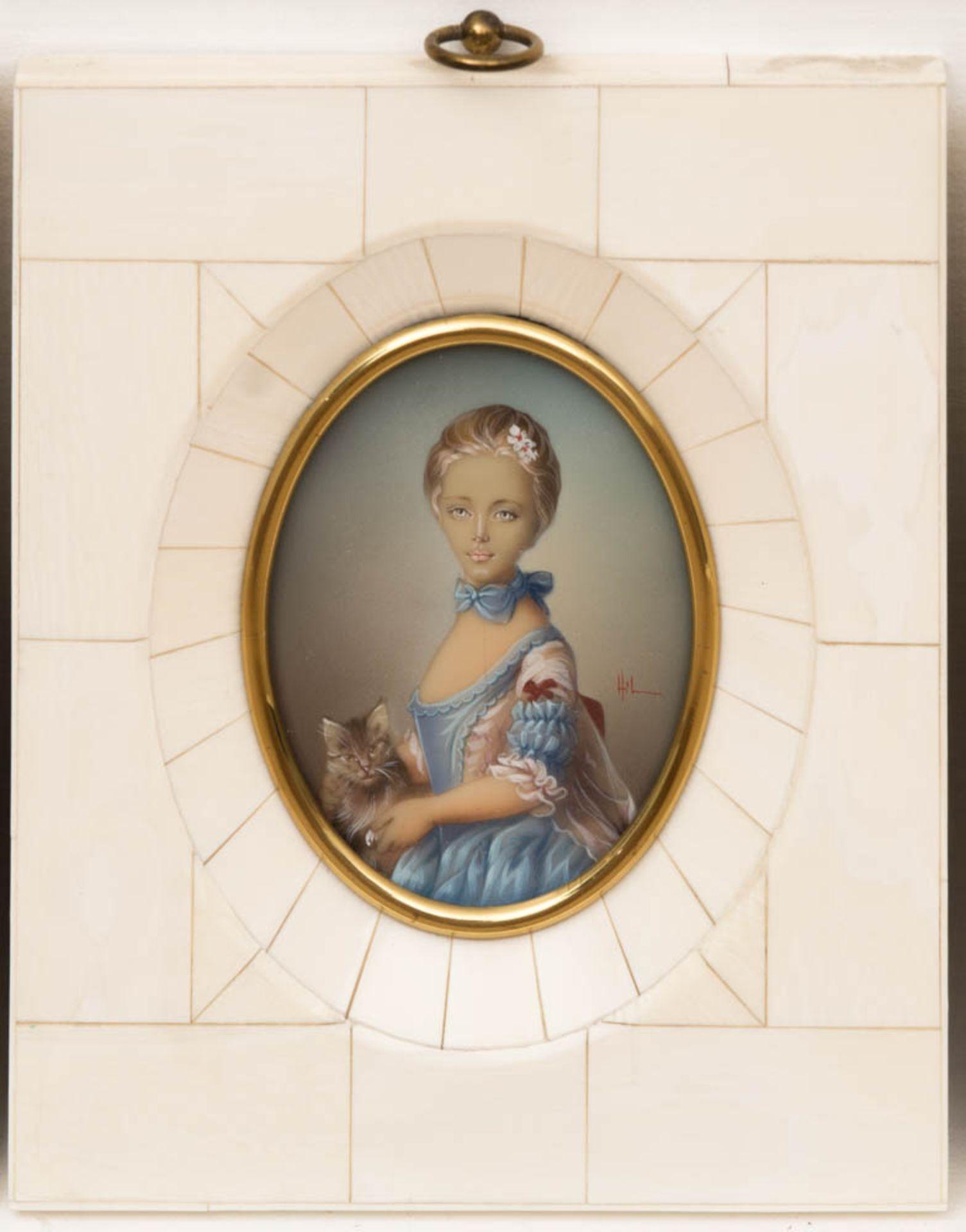 Konvolut von vier Miniaturmalereien im Elfenbeinrahmen.Sehr schön gearbeitete ovale D - Bild 4 aus 5