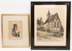 Zwei Architekturansichten, Lithografie um 1835, Radierung 20. Jh.Beide Bilder sind gera