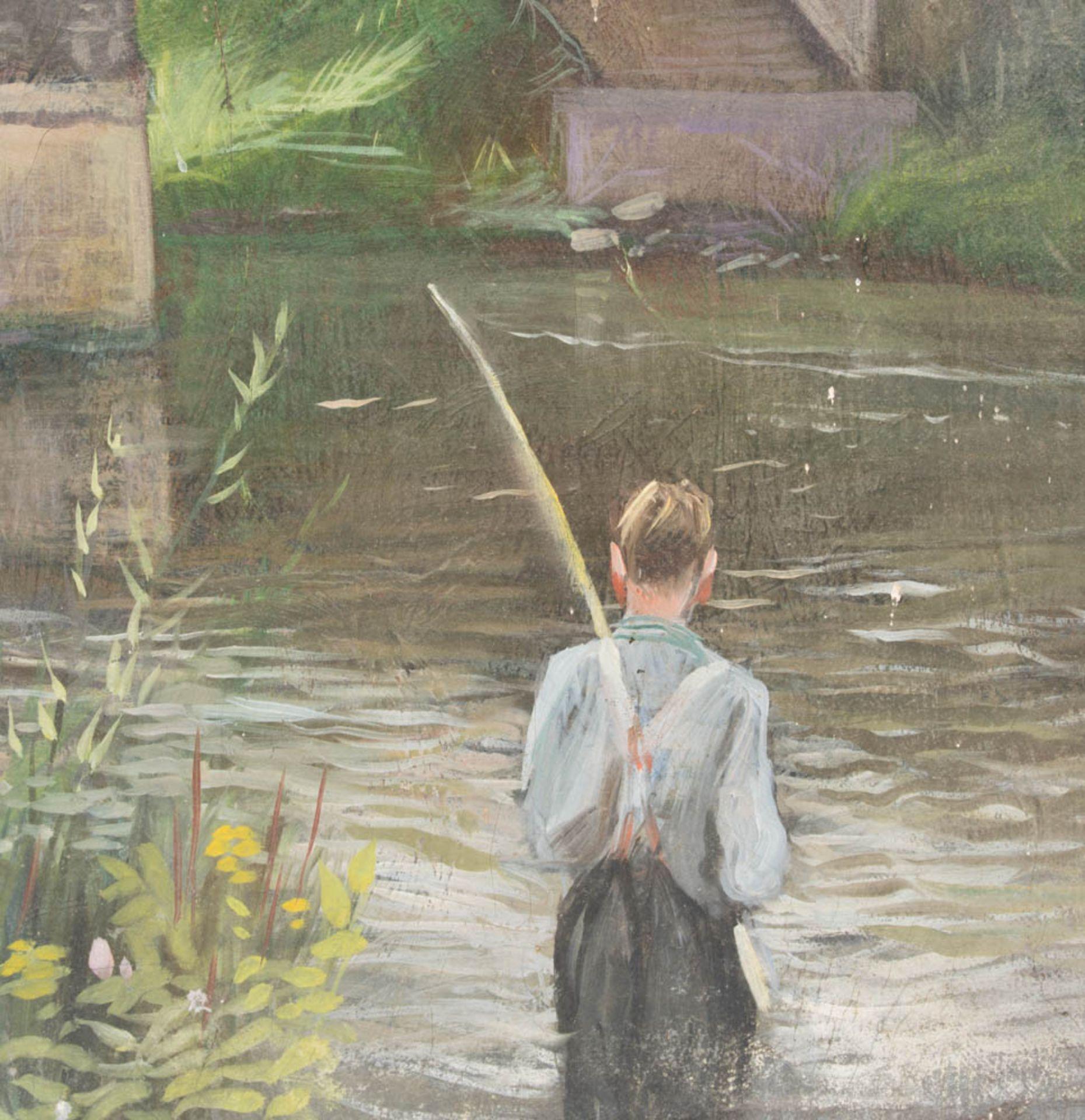 Fischender Junge bei der Brücke, Öl auf Leinwand, 20. Jh.Nicht gerahmt und datiert.< - Bild 2 aus 6