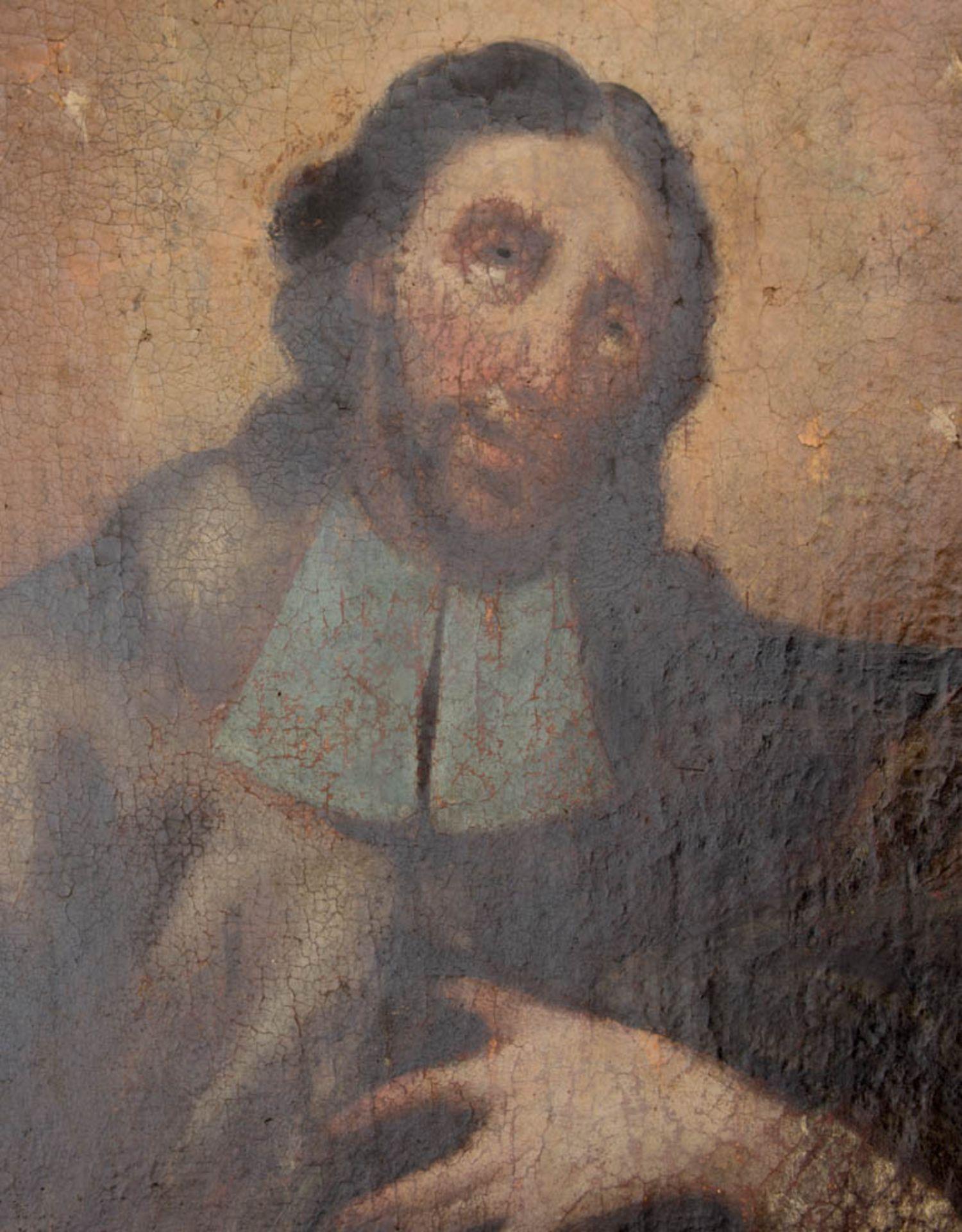Matthäus der Evangelist, Öl auf Leinwand, 16. / 17. Jh.Dublierte Leinwand, Restaurat - Bild 3 aus 5