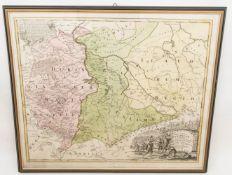 Ducatus Saxoniae, Antike Landkarte des Frankenreiches.Hinter Glas gerahmt. 65