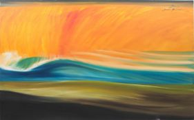 Remi Bertoche, Wellen im Abendrot, Öl auf Leinwand, 20./21. Jh.Oben rechts signiert.<