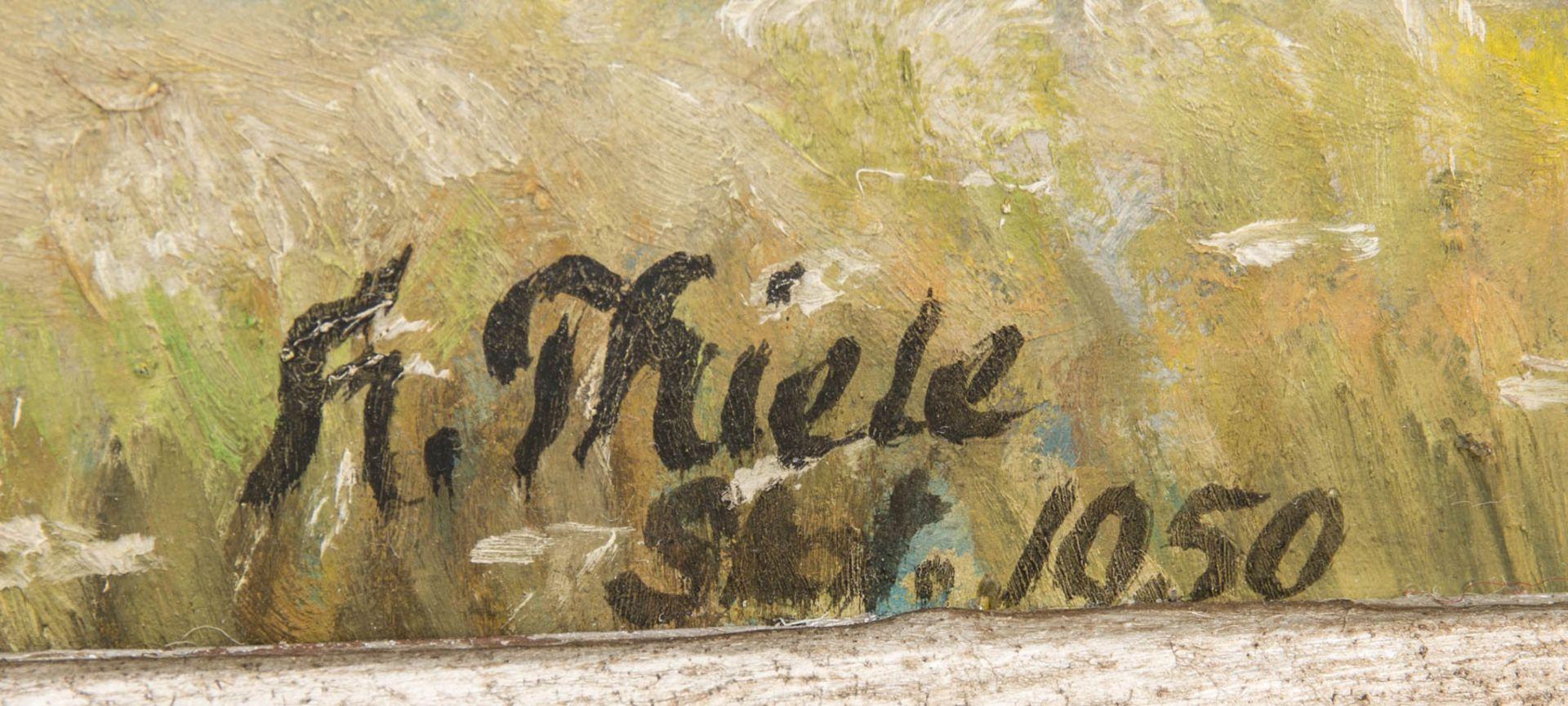 Monogrammiert Thiele, Röhnlandschaftsansicht, Öl auf Platte, 1950.Gerahmt, unten rec - Bild 3 aus 6