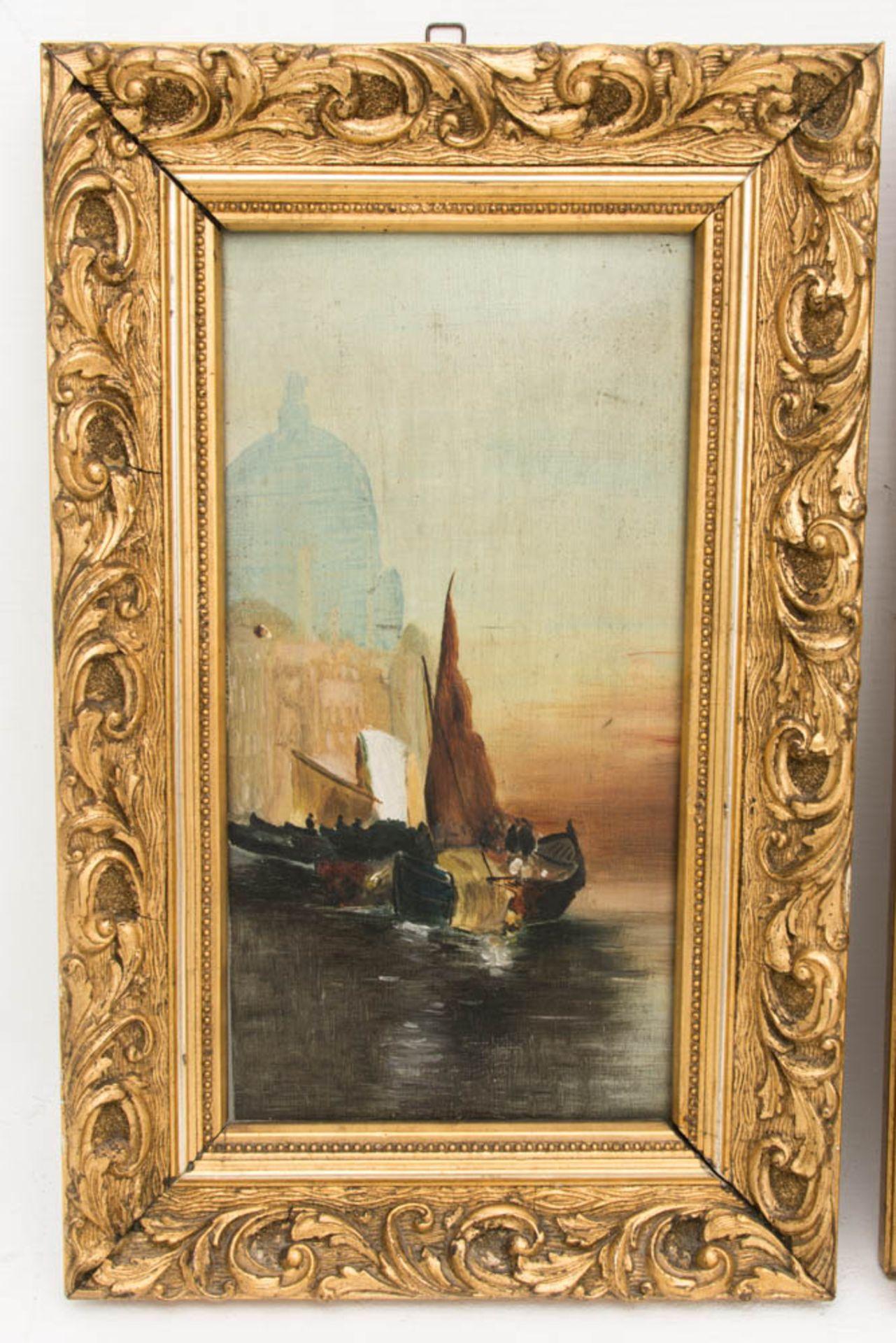 Monogrammiert R.E. 04, Öl auf Holz, Zwei Gemälde mit Ansichten von Venedig.Ansicht a - Bild 2 aus 6
