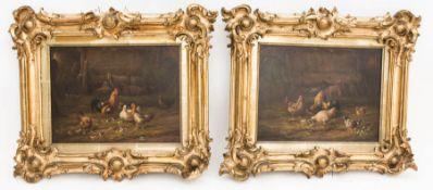 Monogrammiert R. Reinhardt, Öl auf Holz, Zwei Genrebilder.Gerahmt, Hühner mit Schafe