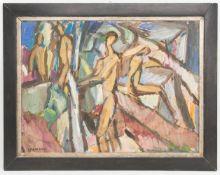 Alfred Lehmann, Abstrakte Menschengruppe, Acryl auf Hartfaserplatte 20. Jh.Unten links