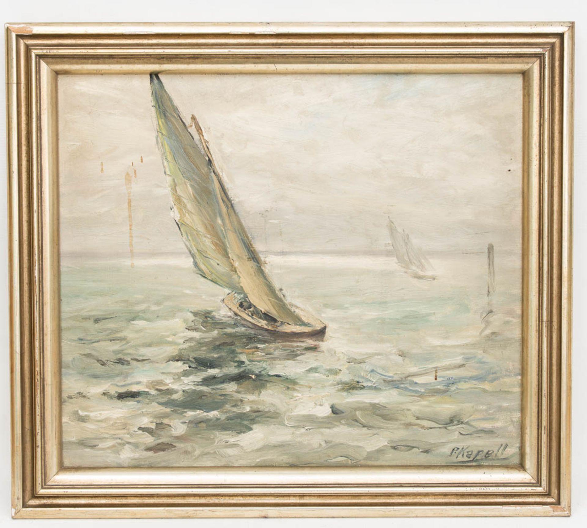 Paul Kapell, Segelboot, Öl auf Karton, 19./20. Jh.Landschaftsansicht, Segelboot im Wi