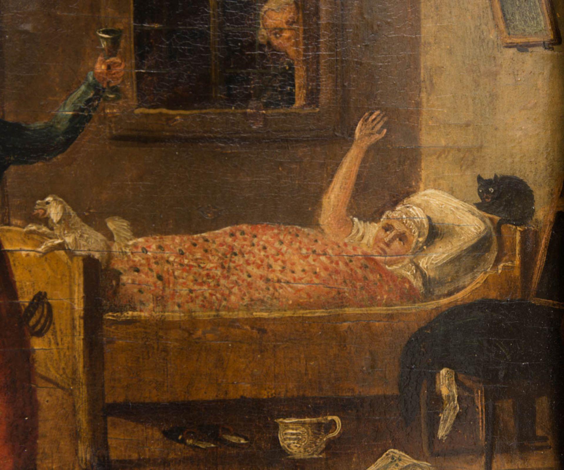 Johann Phillipp Ulbricht, Paar humorvolle Szenen, Öl auf Holz, Mitte 18. Jh. - Bild 6 aus 12