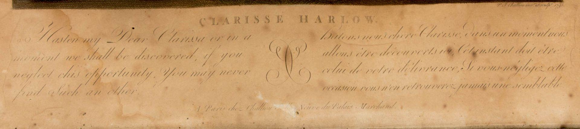 Die Leiden der Clarissa von Harlow, Druckgrafik, 19. Jh.Beide hinter Glas gerahmt, lei - Bild 4 aus 7