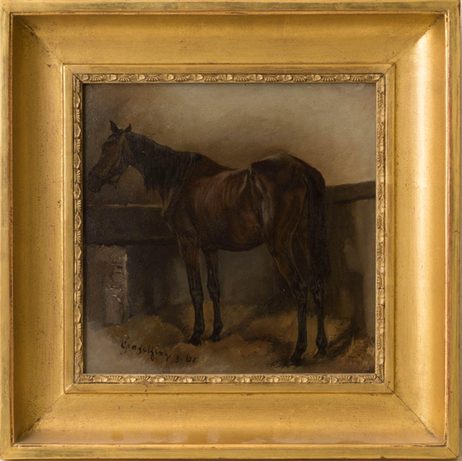 Wilhelm von Diez, Pferdestudie, Öl auf Platte, 19. Jh.