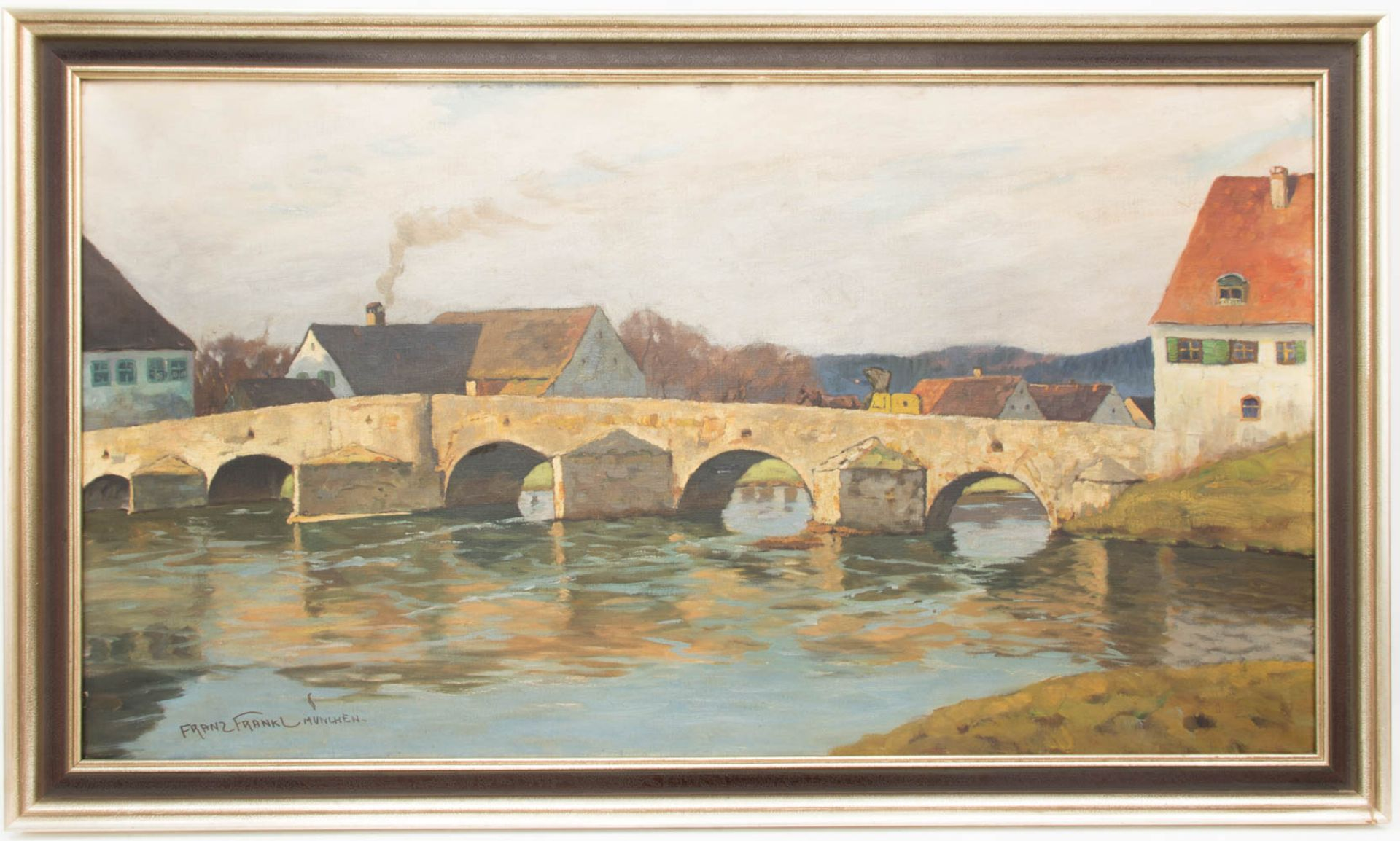 Franz Frankl, Die Brücke, Öl auf Leinwand, 20. Jh.Franz Frankl (1881 - 1940).Unt