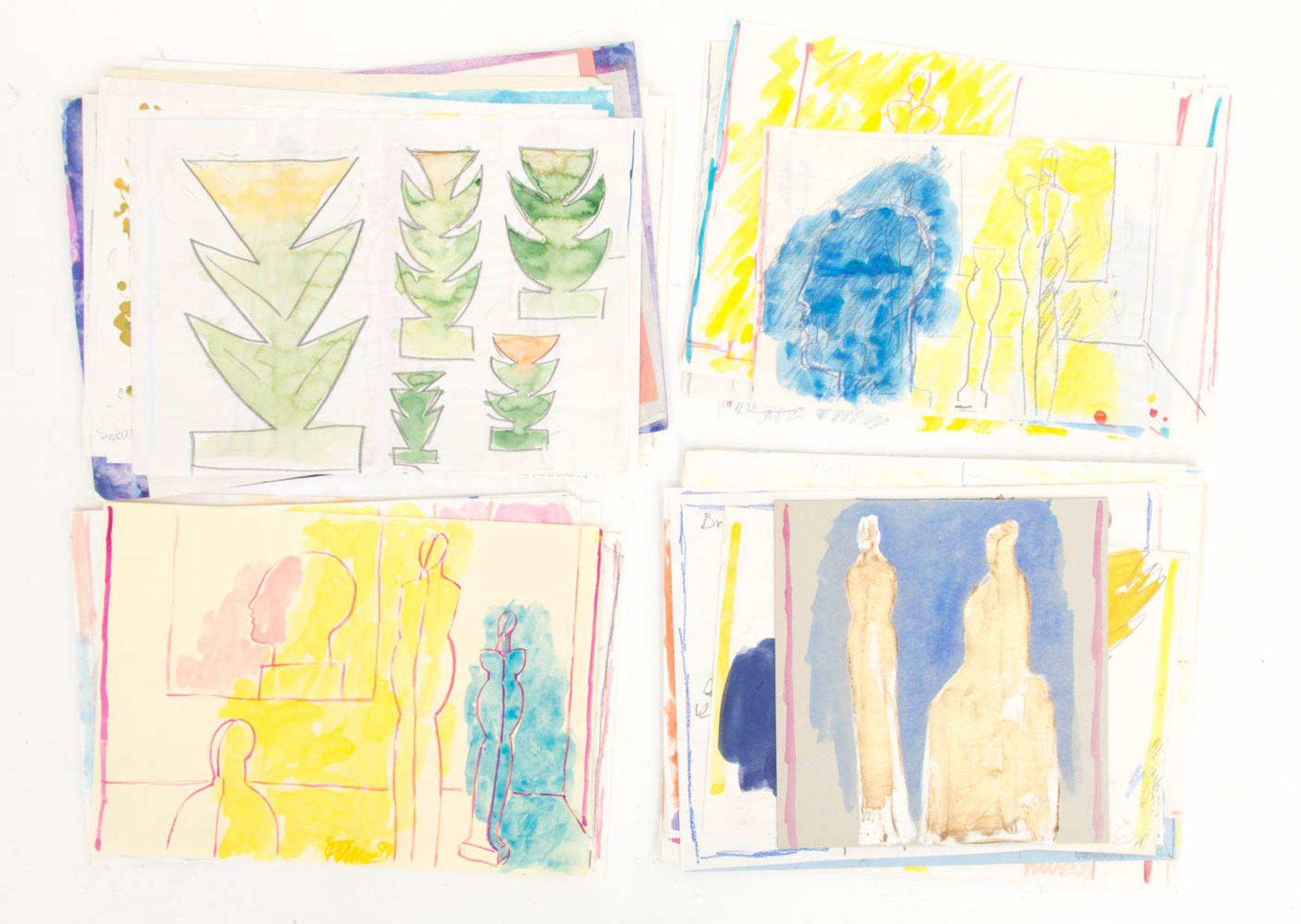 Franz Dreyer, Konvolut aus Zeichnungen / Aquarellen und Mappen, Stuttgart 20. Jh. - Bild 2 aus 3