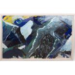 Bernd Zimmer, Komposition in blau/Berge, Aquarell Papier, Deutschland 20. Jh.Bernd Zim