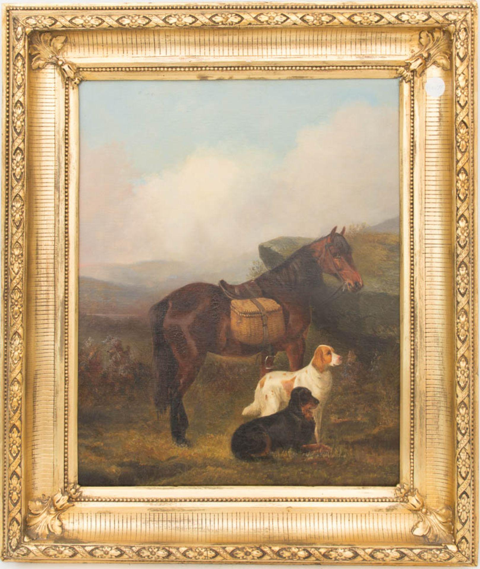 Colin Graeme, Hunde und Pferd in schottischer Landschaft, Öl auf Leinwand, 19. Jh.Unt