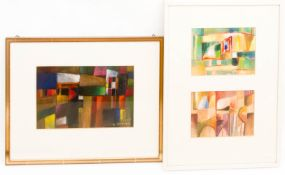 Herta Mora, Paar Abstrakte Kompositionen, Acryl auf Bütte, 20. Jh.Unten rechts signie