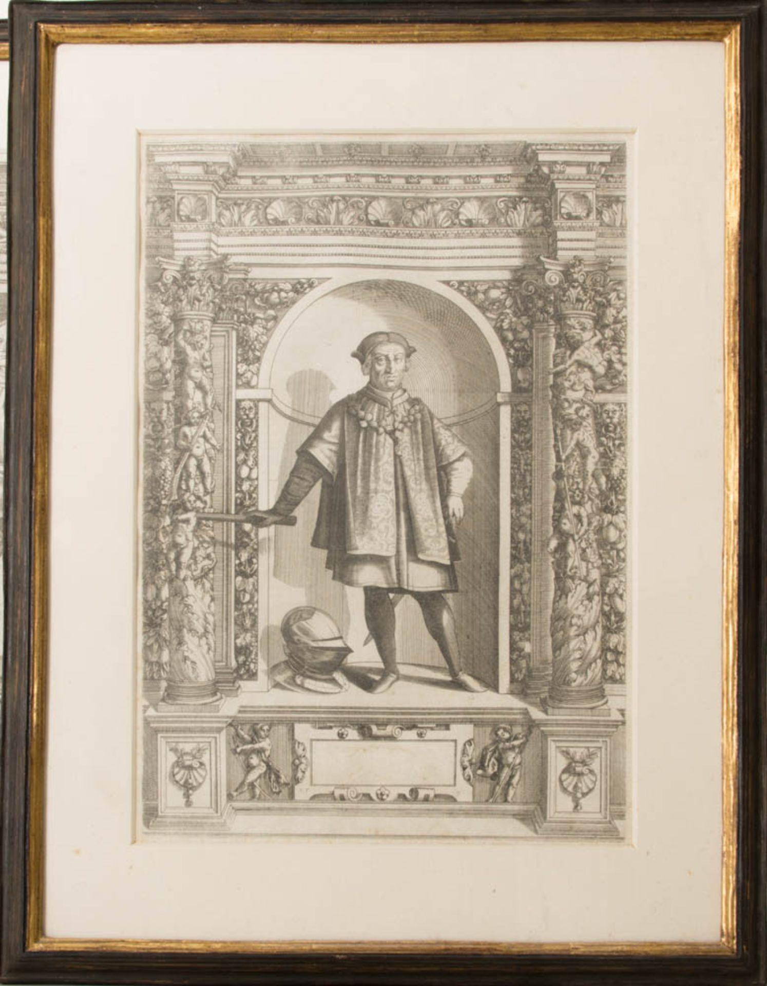 Vier Herrenportraits, Druckgrafik, 18. Jh.Teilweise rückseitig verglast und bedruckt. - Bild 4 aus 5