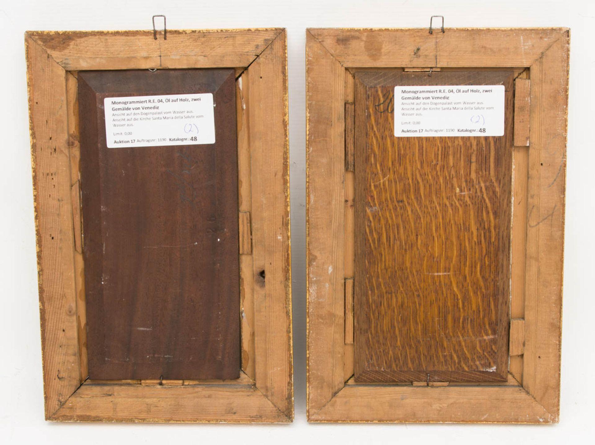 Monogrammiert R.E. 04, Öl auf Holz, Zwei Gemälde mit Ansichten von Venedig.Ansicht a - Bild 6 aus 6