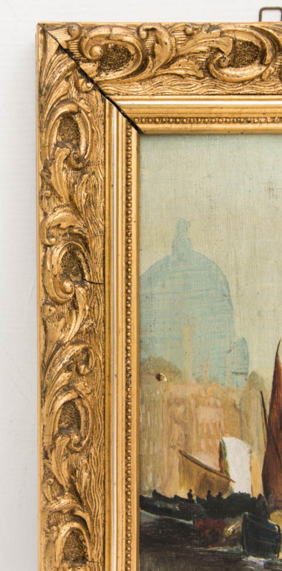 Monogrammiert R.E. 04, Öl auf Holz, Zwei Gemälde mit Ansichten von Venedig.Ansicht a - Bild 5 aus 6