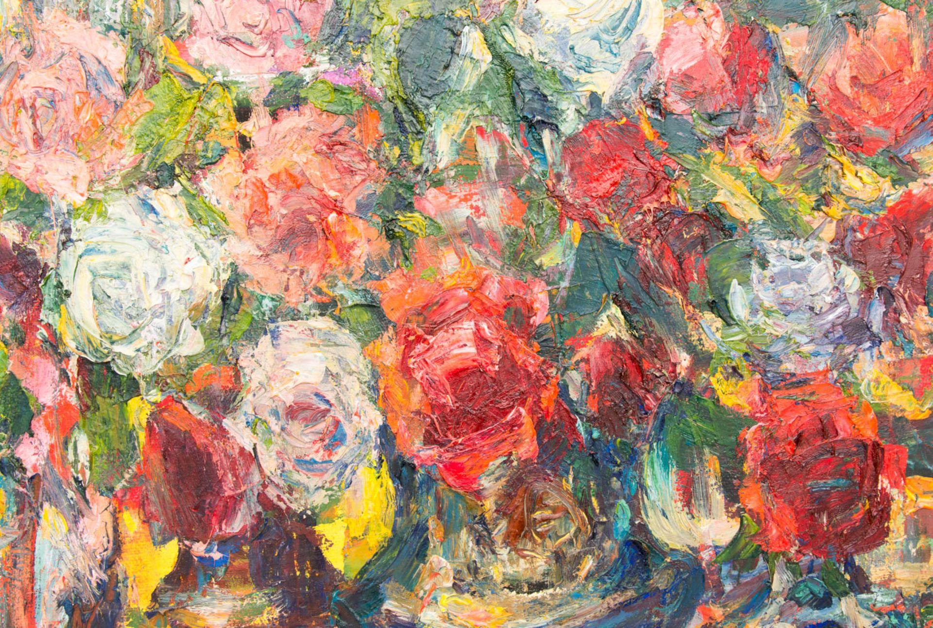 """Blumenstillleben, Acryl auf Leinwand, 20. Jh.Gerahmt. Rückseite weist Inschrift auf """" - Bild 2 aus 5"""