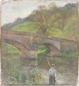 Fischender Junge bei der Brücke, Öl auf Leinwand, 20. Jh.Nicht gerahmt und datiert.<