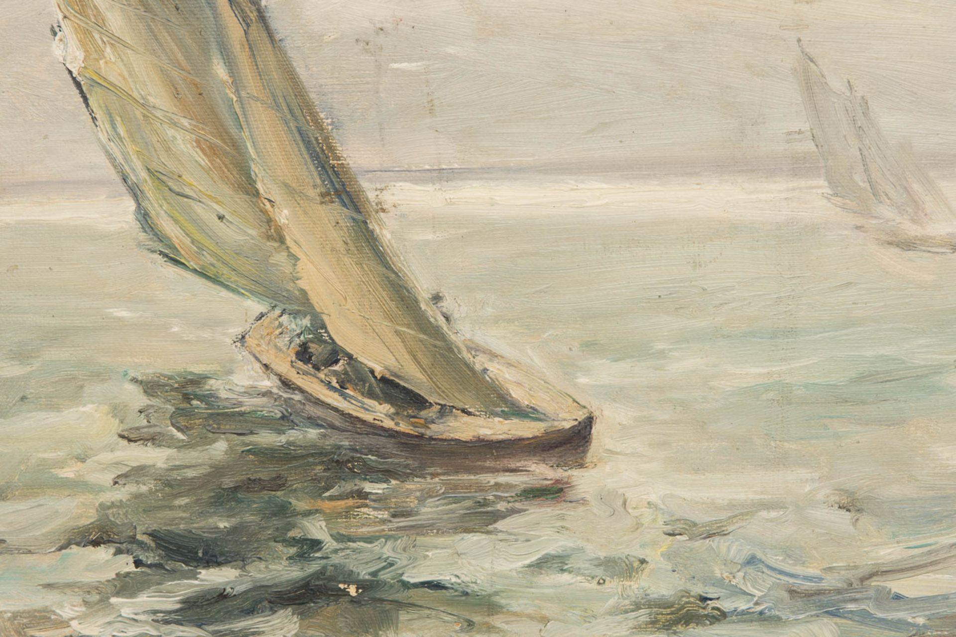 Paul Kapell, Segelboot, Öl auf Karton, 19./20. Jh.Landschaftsansicht, Segelboot im Wi - Bild 2 aus 6