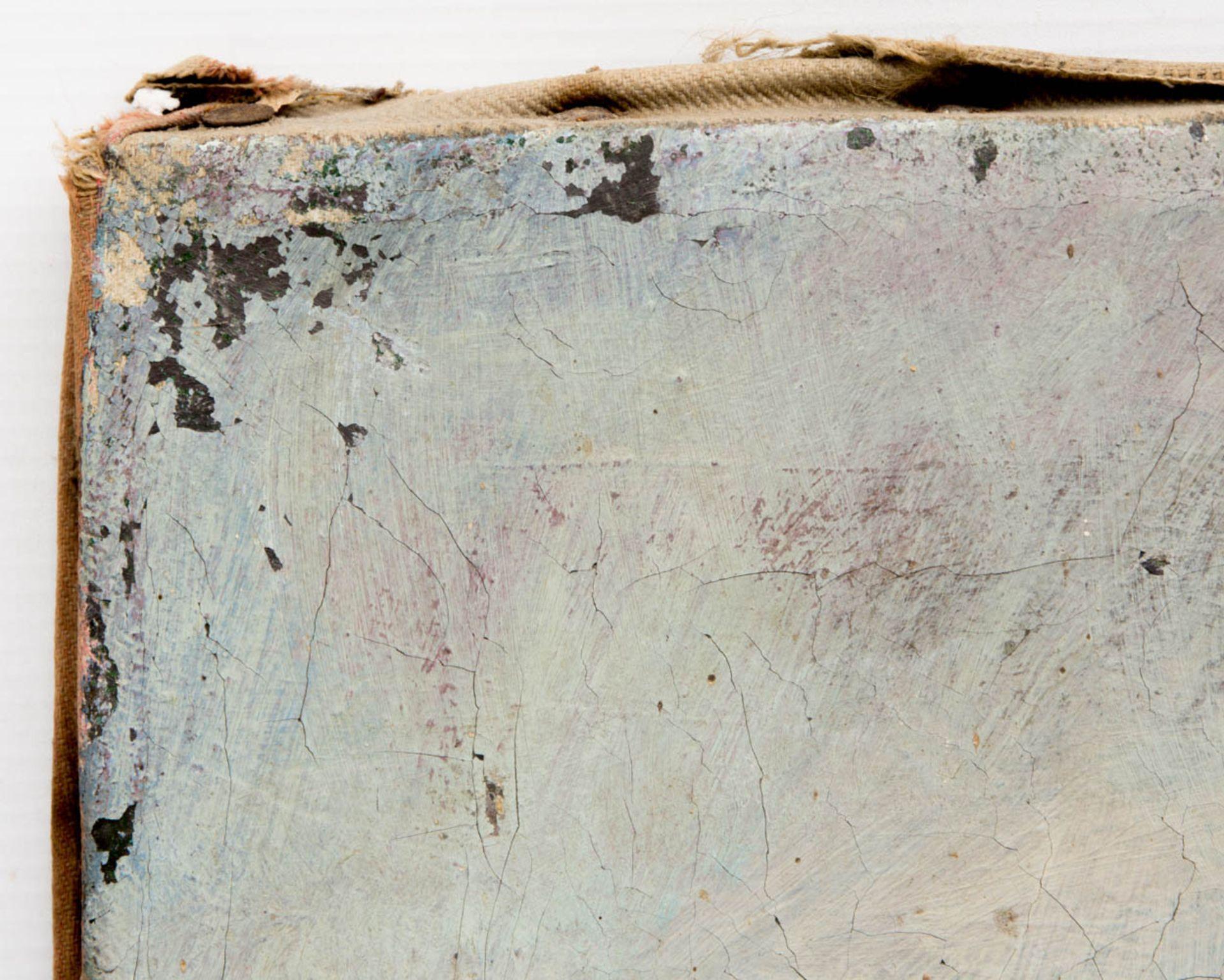 Fischender Junge bei der Brücke, Öl auf Leinwand, 20. Jh.Nicht gerahmt und datiert.< - Bild 4 aus 6