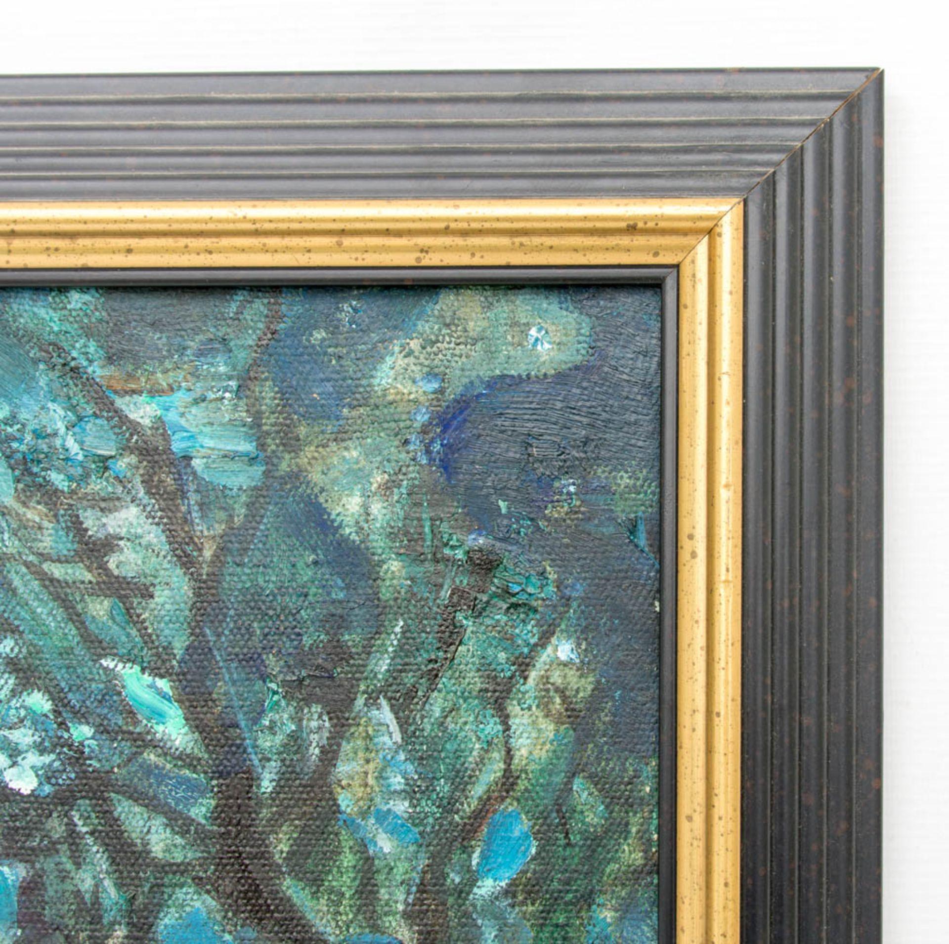 Abstrakte Komposition mit Bäumen, Stadt und Menschen, Acryl auf Leinwand.Rückseite m - Bild 3 aus 5