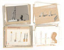 Franz Dreyer, Konvolut aus über 50 verschiedenen Aquarellen und Zeichnungen, Stuttgart 20. Jh.<