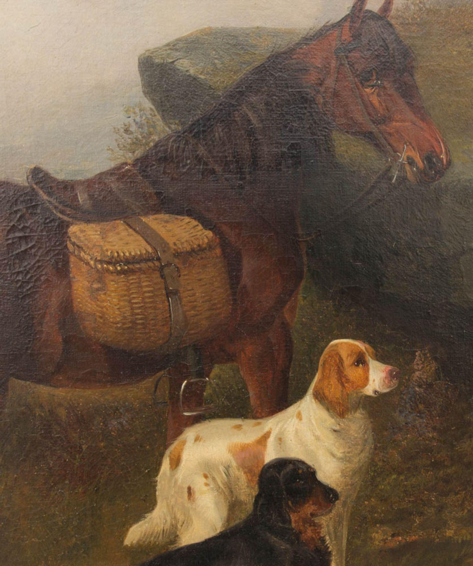 Colin Graeme, Hunde und Pferd in schottischer Landschaft, Öl auf Leinwand, 19. Jh.Unt - Bild 2 aus 5