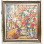 """Blumenstillleben, Acryl auf Leinwand, 20. Jh.Gerahmt. Rückseite weist Inschrift auf """""""
