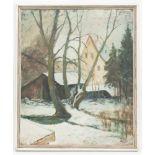 Walter Strich-Chapell, Winterabend, Öl auf Platte, 1951.Unten rechts datiert, 51, ger