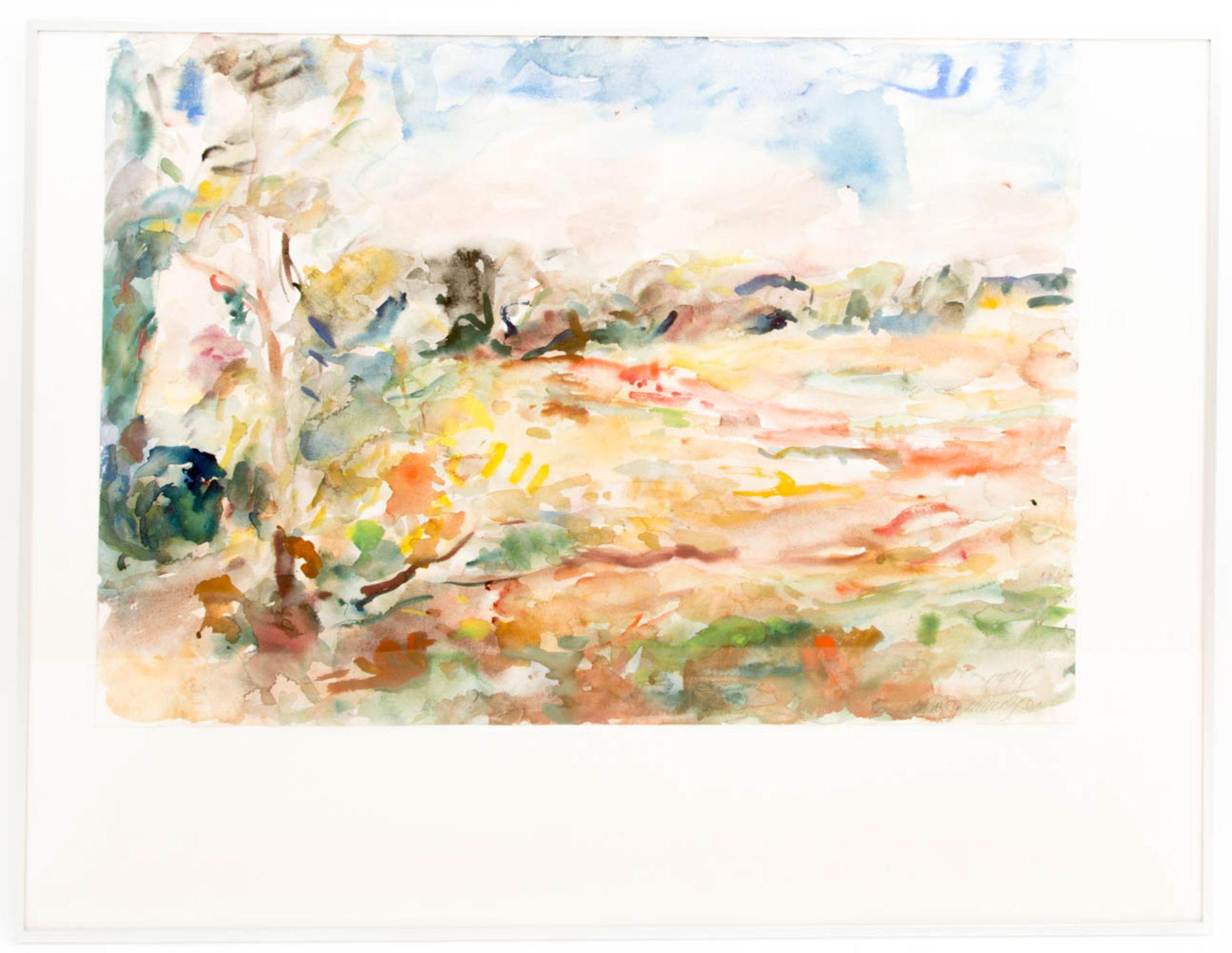 Manfred Henninger, Landschaftsansicht, Aquarell, 1944.