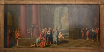 Alter Meister, Jesus im Tempel, Öl auf Leinwand, gerahmt, um 1700.Gemälde eines alt