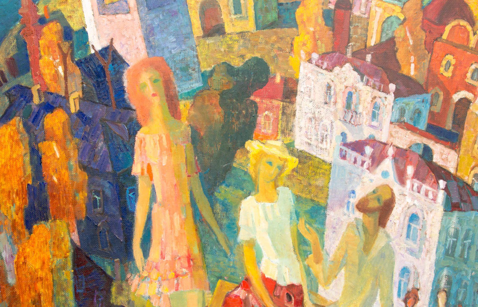 Abstrakte Komposition, Stadt mit Menschen, 20. Jh.Signiert und gerahmt.Rückseite - Bild 2 aus 4