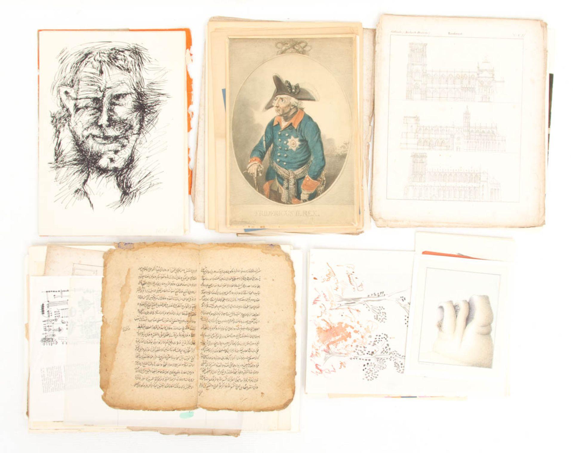 Konvolut von Zeichnungen und Mischtechniken verschiedener Künstler der Kunstakademie Stuttgart.