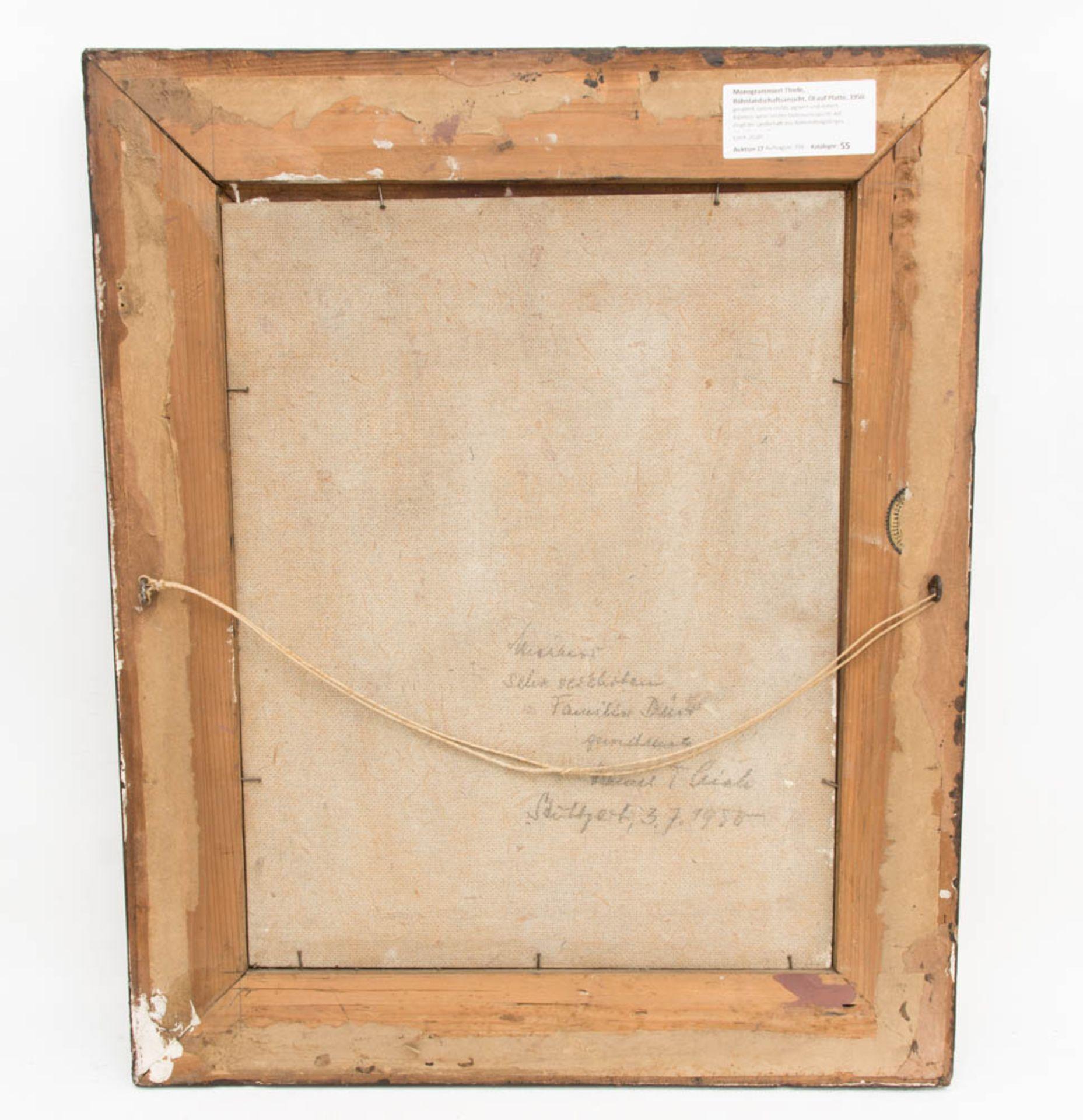 Monogrammiert Thiele, Röhnlandschaftsansicht, Öl auf Platte, 1950.Gerahmt, unten rec - Bild 5 aus 6