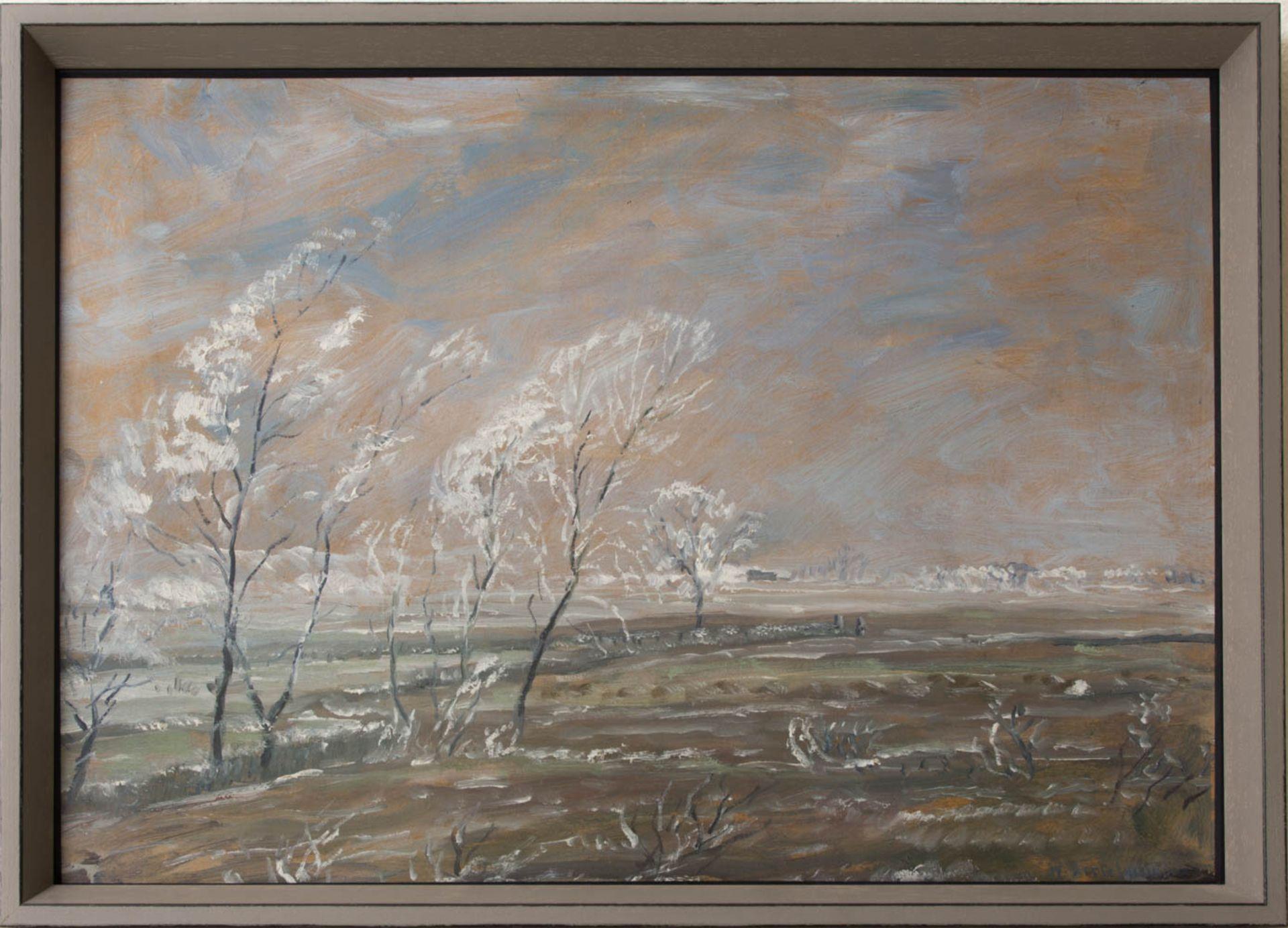 Wohl Walter Bertelsmann, Winterlandschaft, Acryl auf Platte, 20. Jh.Hinter Glas gerah