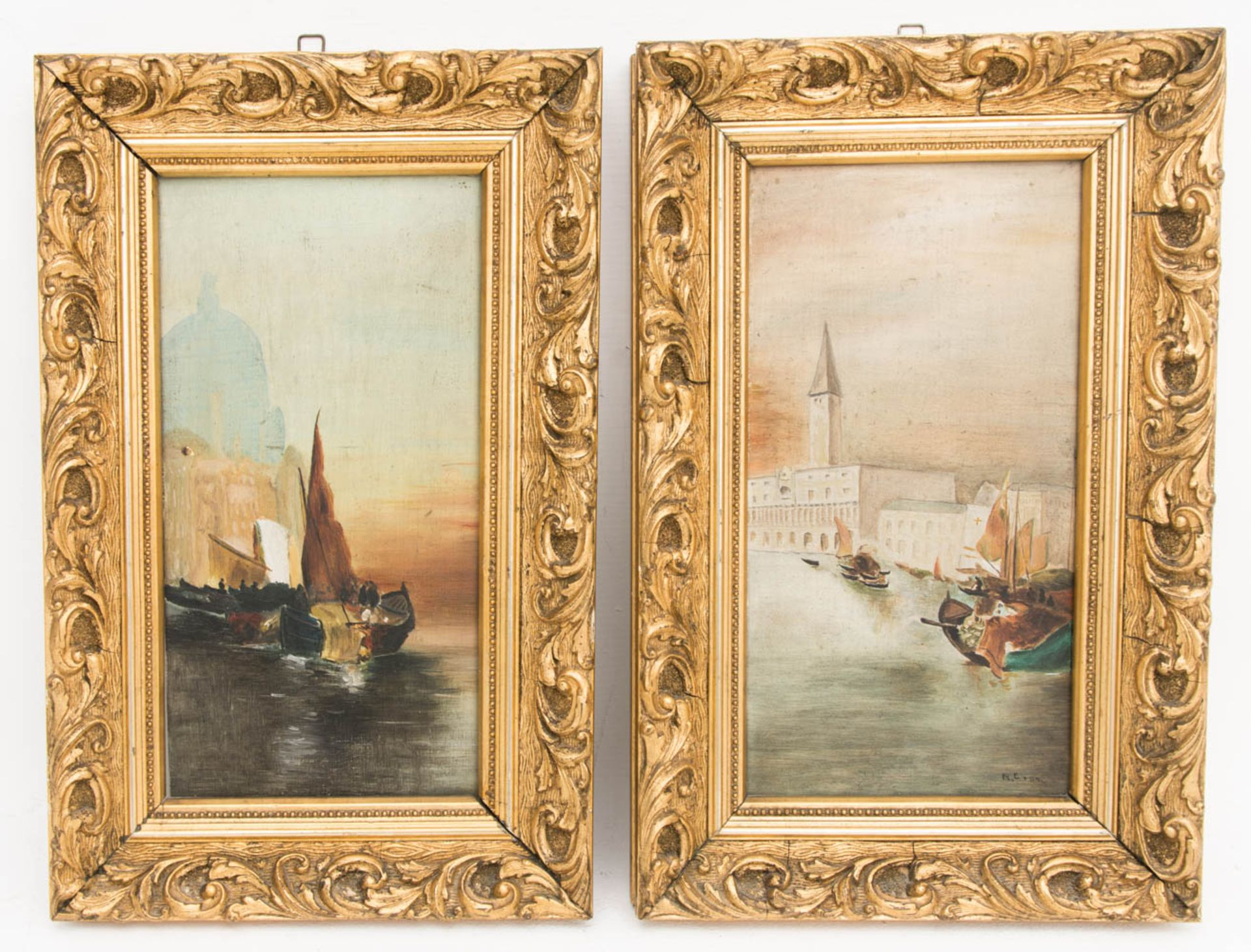 Monogrammiert R.E. 04, Öl auf Holz, Zwei Gemälde mit Ansichten von Venedig.Ansicht a