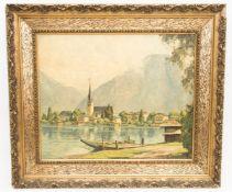 Darstellung des Tegernsee in Bayern, Öl auf Platte, 20. Jh.In Holzrahmen, nicht signi
