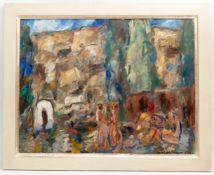 Mandfred Henninger, Abstrakte Komposition mit Menschen und Häusern, Acryl auf Leinwand, 1976.</