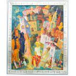 Abstrakte Komposition, Stadt mit Menschen, 20. Jh.Signiert und gerahmt.Rückseite
