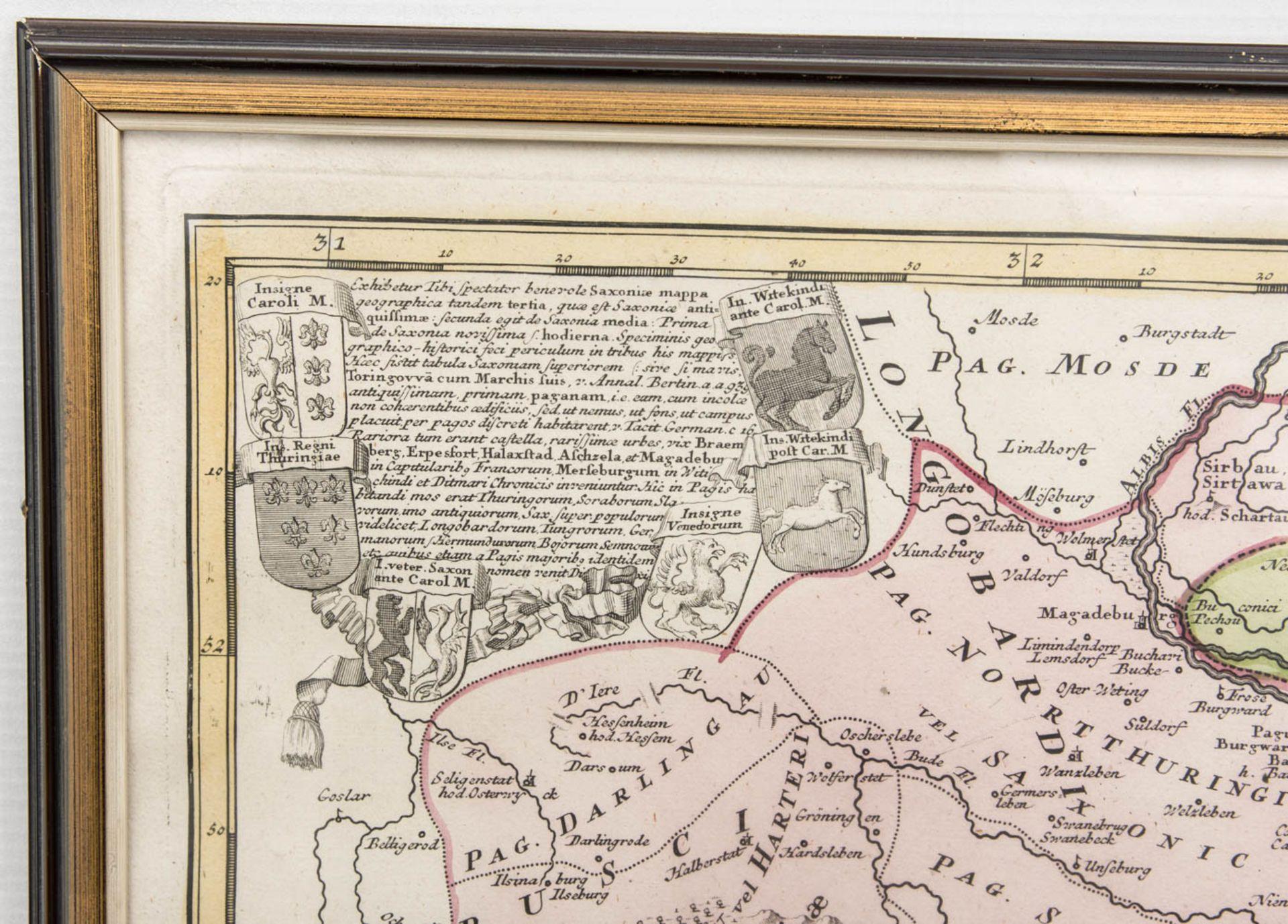 Ducatus Saxoniae, Antike Landkarte des Frankenreiches.Hinter Glas gerahmt. 65 - Bild 3 aus 4