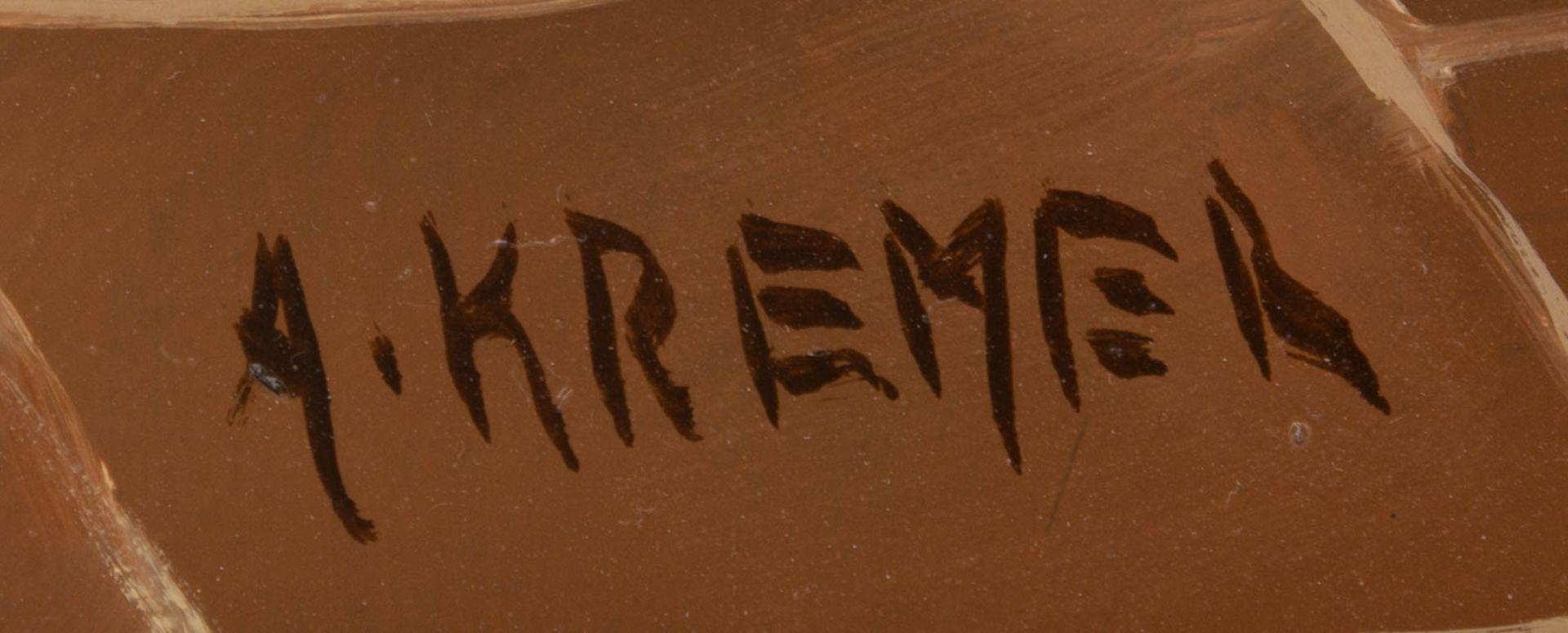 Sign. A. Kremer, Bäuerliche Küchenszene, Öl auf Leinwand, 19. Jh.Vermutlich hollän - Bild 4 aus 5